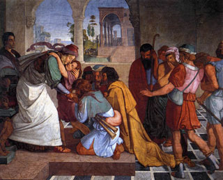 José es reconocido por sus hermanos (por Peter von Cornelius)