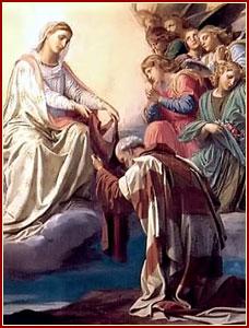 San Simón Stock recibiendo el escapulario carmelita de manos de María Santísima